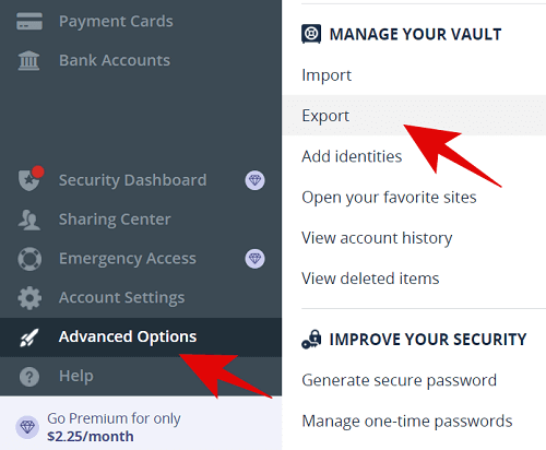 Exporting data from Lastpass via web