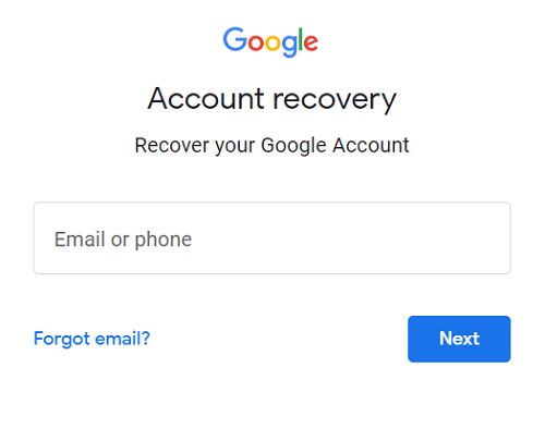 Gmail account recovery page