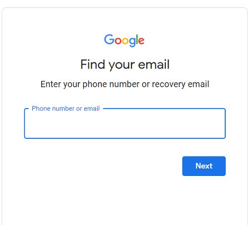 Gmail's email recovery page